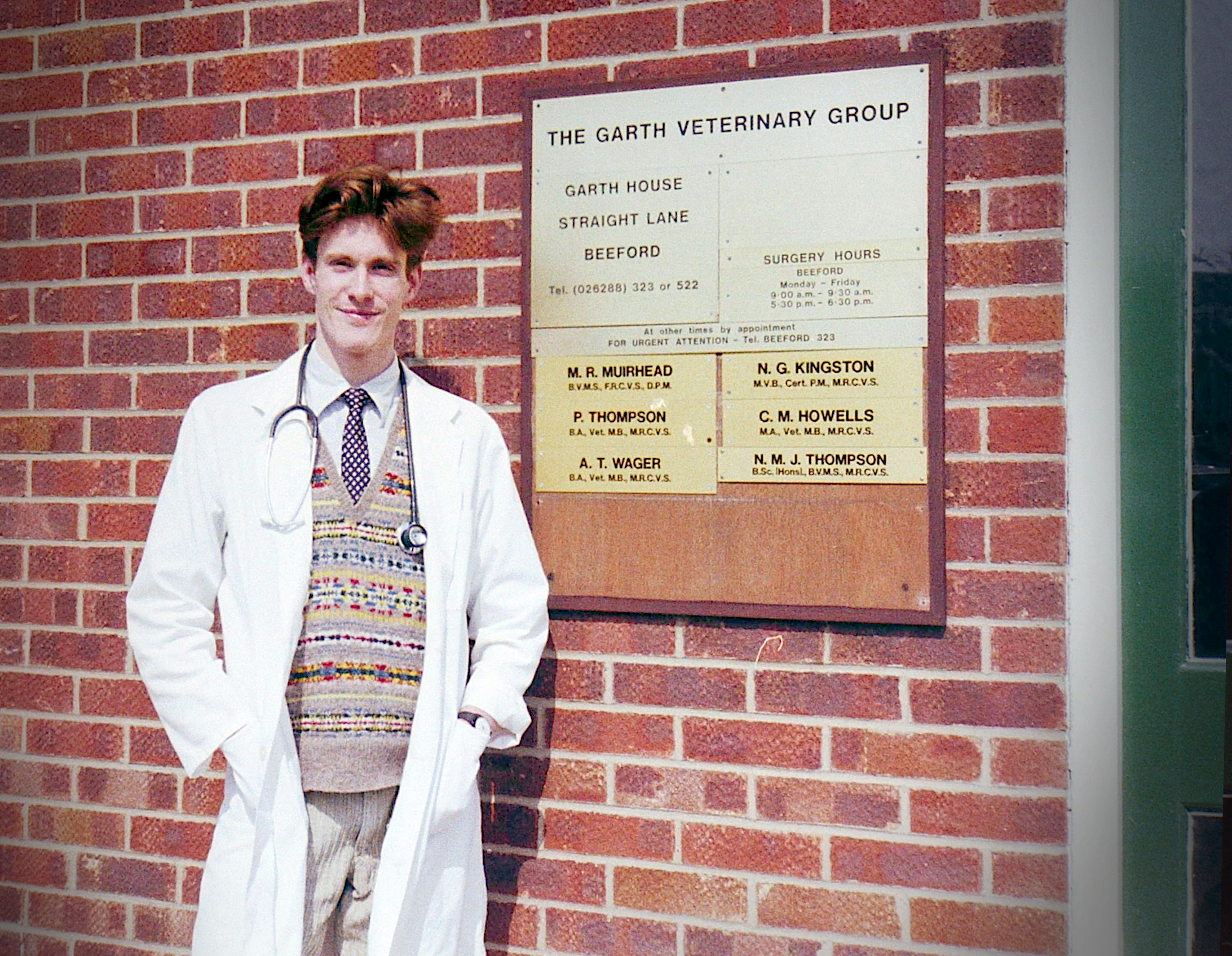 Nick Thompson standing outside the Garth Veterinary Group practice in 1996